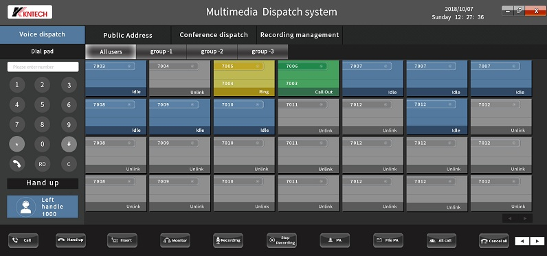 Operator console for telephone system with soft client software